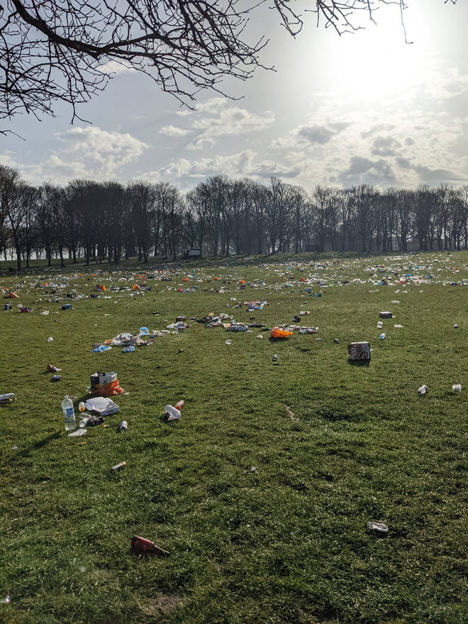 Woodhouse Moor in Hyde Park Leeds was covered with rubbish on Wednesday morning.