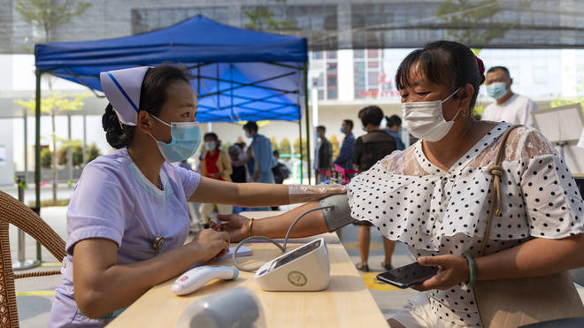 A city Communist Party official told CCTV the previous day that 159,000 doses of vaccine had arrived in the city.
