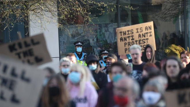 Demonstrators during a 'Kill The Bill' protest in Guildhall Square in Southampton