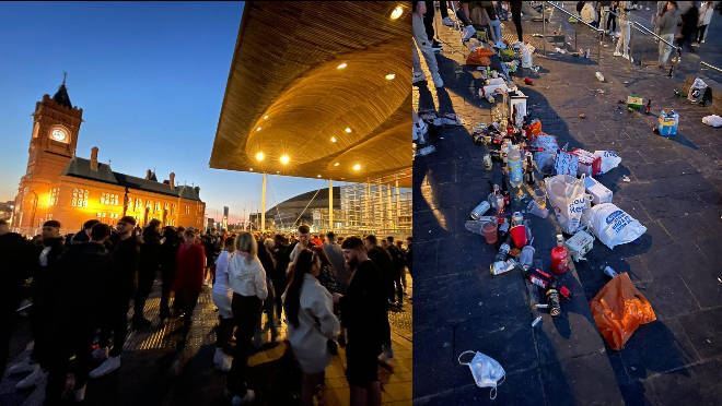 Revellers left behind rubbish following the illegal party outside the Welsh Parliament