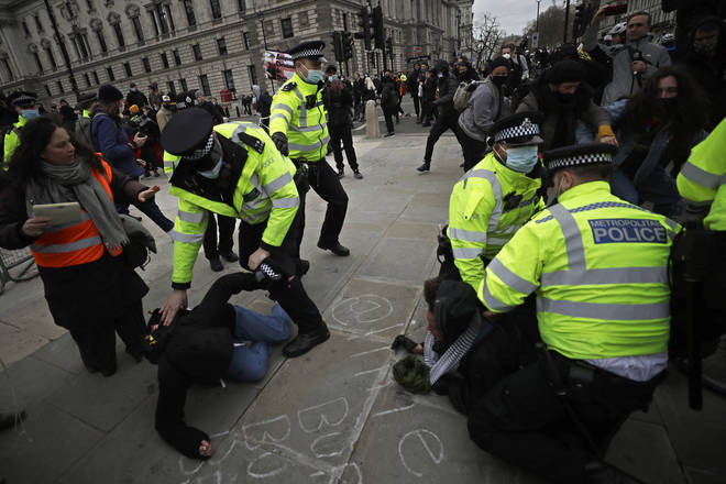 Scuffles have broken out between police and Kill the Bill protesters in central London.