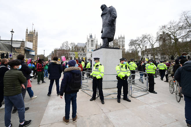 Police have been stationed around the Churchill statue at Parliament Square.