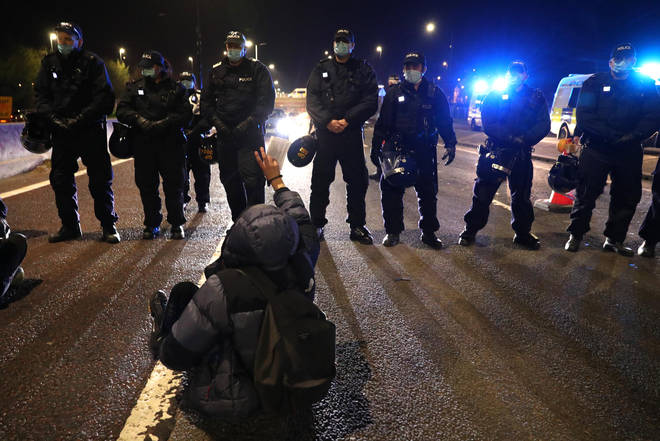 Protesters blocked the M32 motorway in Bristol at around 9.30pm