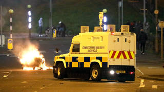 Around 30 petrol bombs were thrown at police in Northern Ireland last night