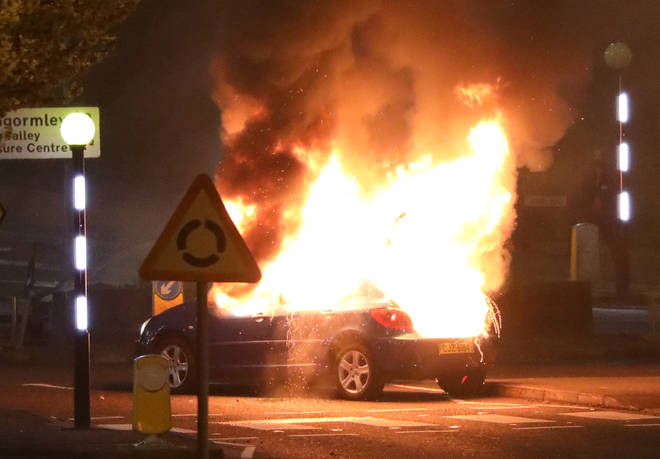 Vehicles were set alight during the disturbances in Northern Ireland