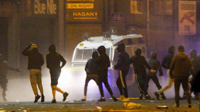 Rioters clashed with police in the Sandy Row area of Belfast on Friday