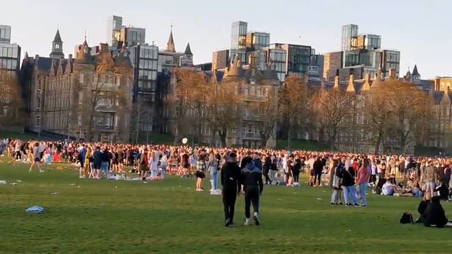 Large crowds gathered in Edinburgh Meadows as Scotland's stay at home order came to an end.