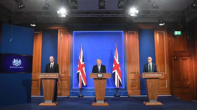 Boris Johnson appeared alongside Professor Chris Whitty and Sir Patrick Vallance