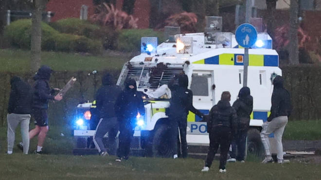 Youths in Northern Ireland attacked the police vehicle with stones