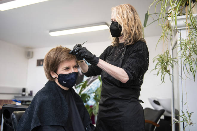 Nicola Sturgeon made the most of the reopening of hairdressers in Scotland on Monday.