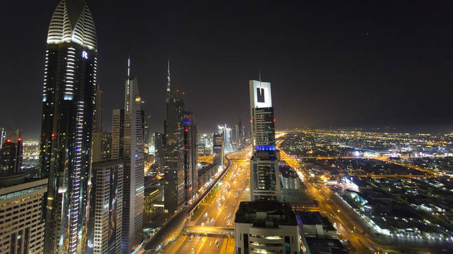 A view of the skyline at night of Dubai (Yui Mok/PA)