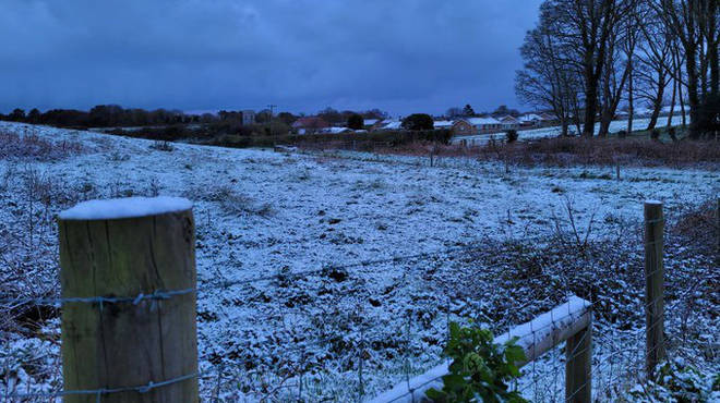 Snow in the village of Overstrand, Norfolk on Tuesday