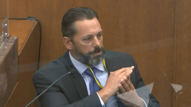 Minneapolis Police Lt Johnny Mercil, a use of force trainer, testifies about restraint.