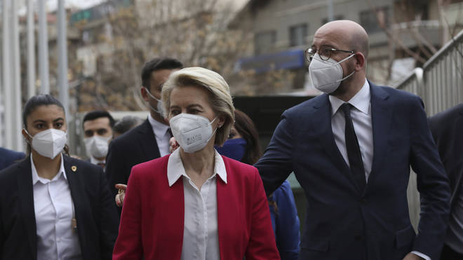 European Commission President Ursula von der Leyen, centre, and EU Council President Charles Michel arrive for a joint news conference after talks with Turkey's President Recep Tayyip Erdogan, in Ankara (Burhan Ozbilici/AP)