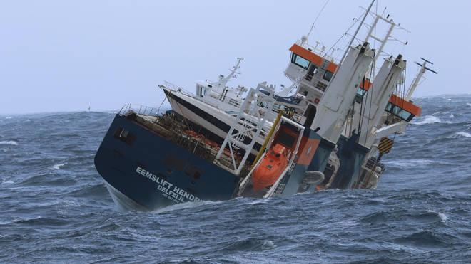 The unmanned Dutch cargo ship Eemslift Hendrika (Coast Guard Ship Shortland/AP)