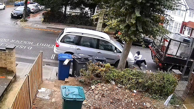 The astonishing incident was caught on a neighbour's CCTV