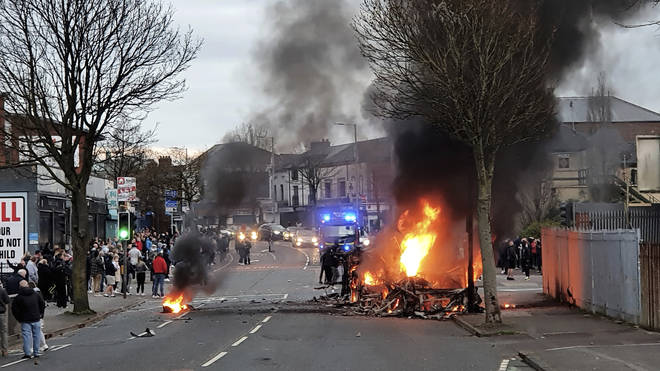 The bus was set alight in Belfast amid ongoing loyalist violence across Northern Ireland