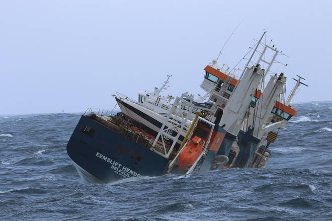 The unmanned Dutch cargo ship Eemslift Hendrika (Coast Guard Ship Sortland/AP)