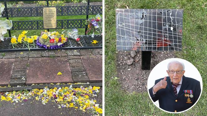 The coronavirus memorial featuring a Captain Tom quote has been vandalised