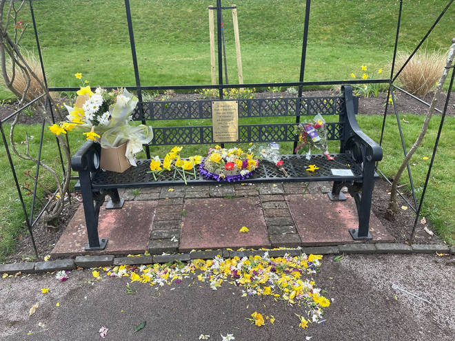 The bench and garden memorial's vandalism left residents appalled