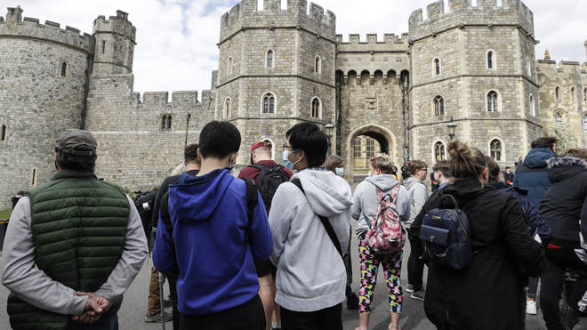 Crowds line the streets near Windsor Castle