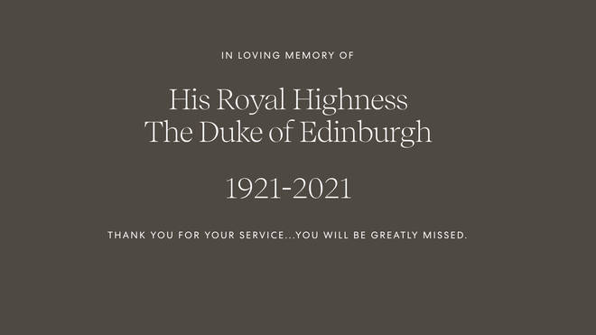 The message on the Archewell website thanks Prince Philip for his service