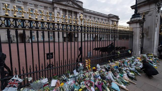 Flowers left at Buckingham Palace