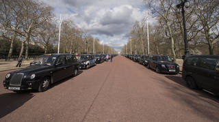 Black taxis lined up along Pall Mall