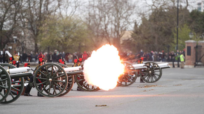 Members of the King's Troop Royal Horse Artillery fire a 41-round gun salute at Woolwich Barracks