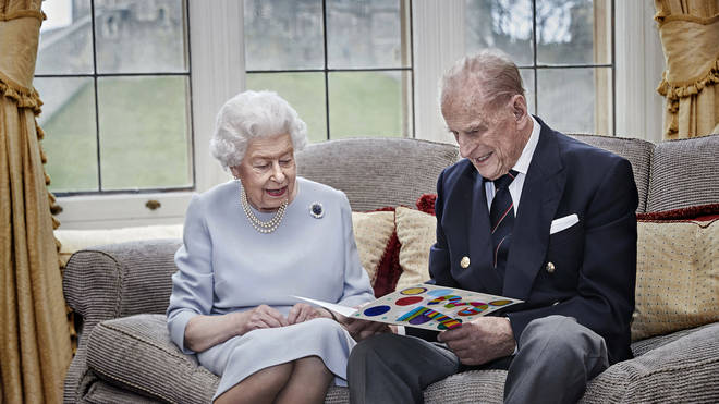 The Duke of Edinburgh pictured with the Queen on their final wedding anniversary
