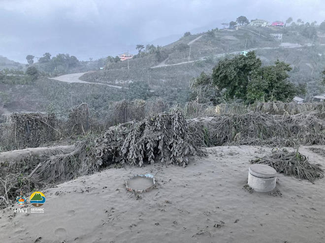 Ash has covered vegetation and houses on the island of St Vincent.