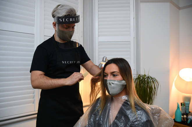 Amy Pallister was the first person to get a Secret Spa hair cut on Monday morning