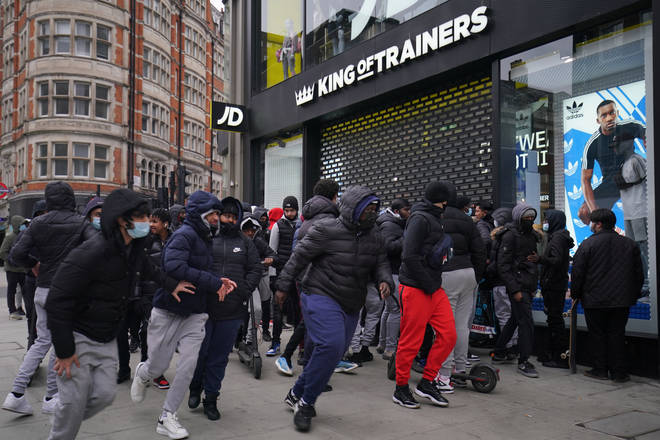 Shoppers scrambled into the Oxford Street JD Sports first thing on Monday morning