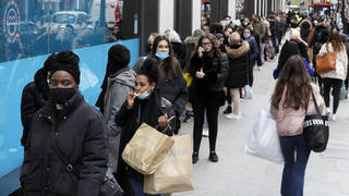 Hundreds of people queued outside shops on London's Oxford Street on Monday morning