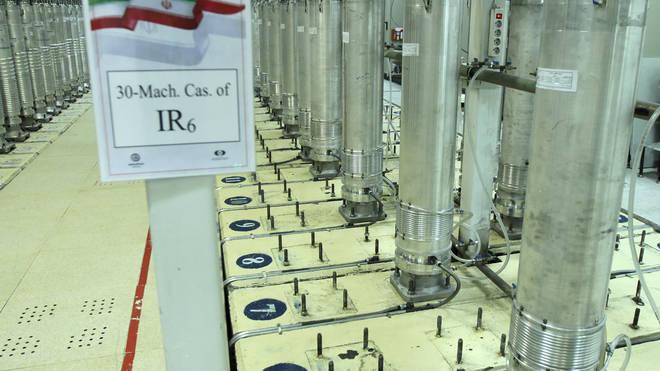Centrifuge machines in the Natanz uranium enrichment facility in central Iran