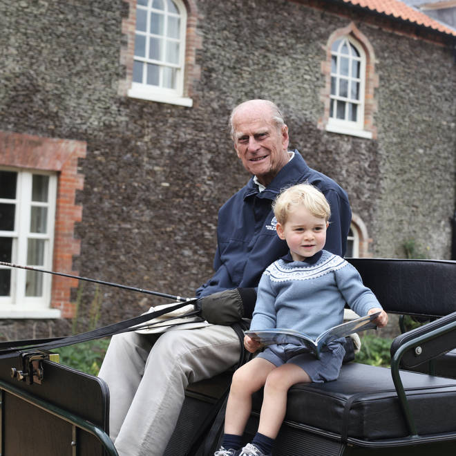 Prince William shared this picture of Prince George with the Duke of Edinburgh