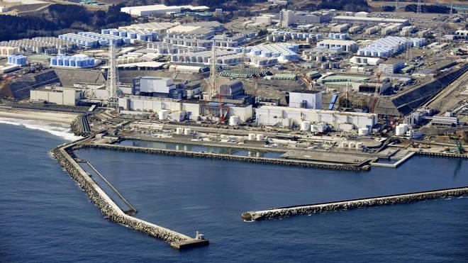 Aerial shot of the damaged Fukushima Daiichi nuclear power plant in Okuma town