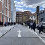 People queuing for Covid-19 tests in Lambeth