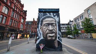 mural of the late George Floyd created by the artist AKSE