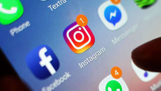 Instagram icon displayed on a mobile phone screen