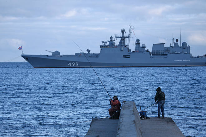 Russian ships performed an exercise in the Black Sea amid tensions in the region