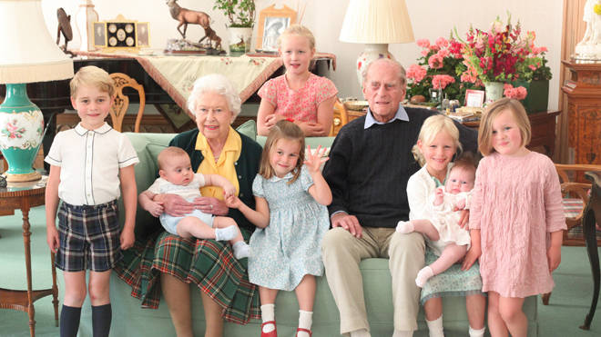 The royal family released this touching photo of the Queen and the duke surrounded by their great-grandchildren