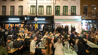 Streets in Soho were closed to traffic when hospitality reopened outdoors on April 12