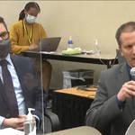 Lawyer Eric Nelson, left, and defendant, former Minneapolis police officer Derek Chauvin (Court TV via AP)