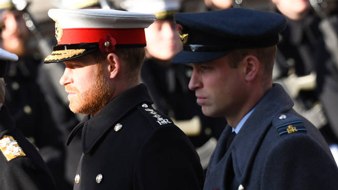 The Duke of Sussex and The Duke of Cambridge pictured together at the Cenotaph in 2019