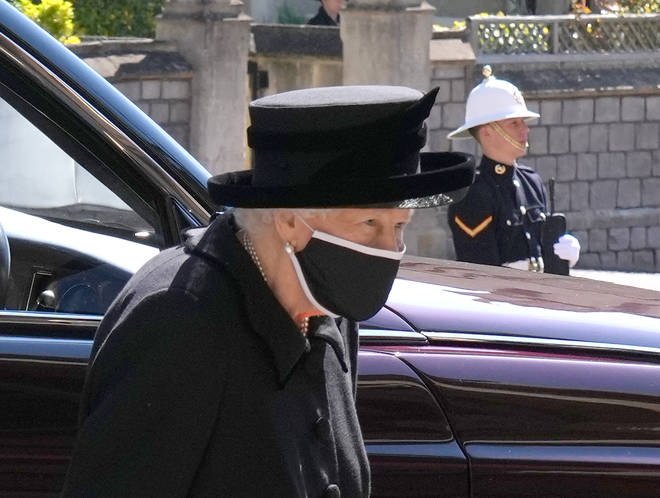 Queen Elizabeth II arrives for the funeral of the Duke of Edinburgh at St George's Chapel, Windsor Castle