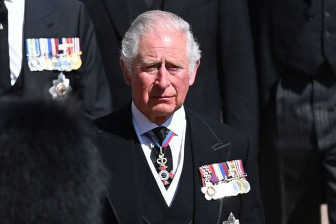 The Prince of Wales followed the Land Rover Defender carrying the coffin of the Duke of Edinburgh