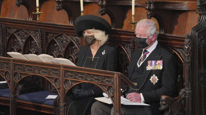 Prince Charles and Camilla during the funeral of Prince Philip