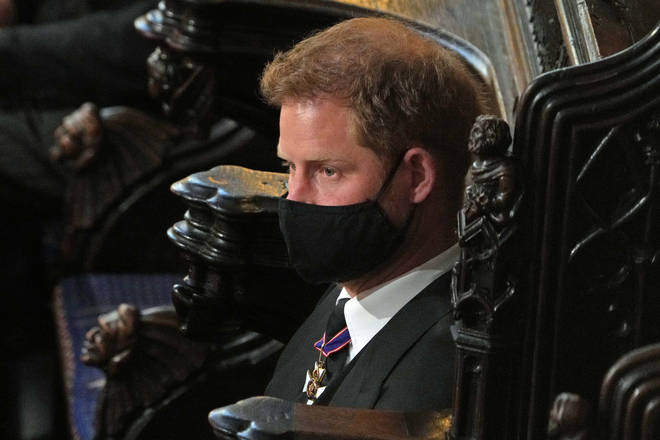 Prince Harry, Duke of Sussex attends the funeral of Prince Philip, Duke of Edinburgh in St George's Chapel at Windsor Castle