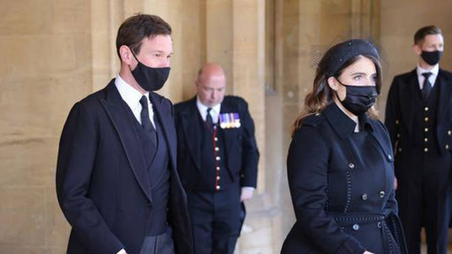 Jack Brooksbank and Princess Eugenie ahead of the funeral